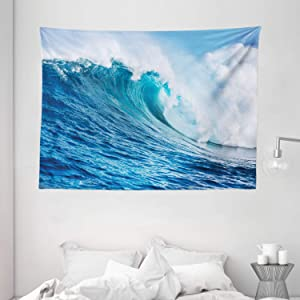 """Ambesonne Ocean Tapestry, Large Powerful Pasific Sea Storm Huge Wave Crashes Hard Surfing Picture, Wide Wall Hanging for Bedroom Living Room Dorm, 80"""" X 60"""", Blue White"""