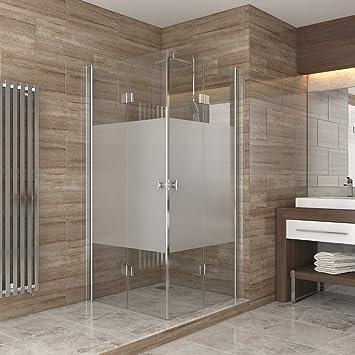 Super Dusche Duschkabine Falttür Echtglas Duschabtrennung Eckeinstieg  EA25