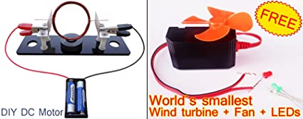 DIY DC MOTOR + FREE GIFT (world`s smallest wind turbine, Fan, LEDs