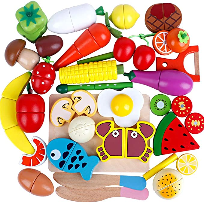 32Pieces Play Food Toys Set Wooden Magnetic Fruits and Vegetables Cutting Kids Play Kitchen Accessories Kit for Toddlers Boys and Girls