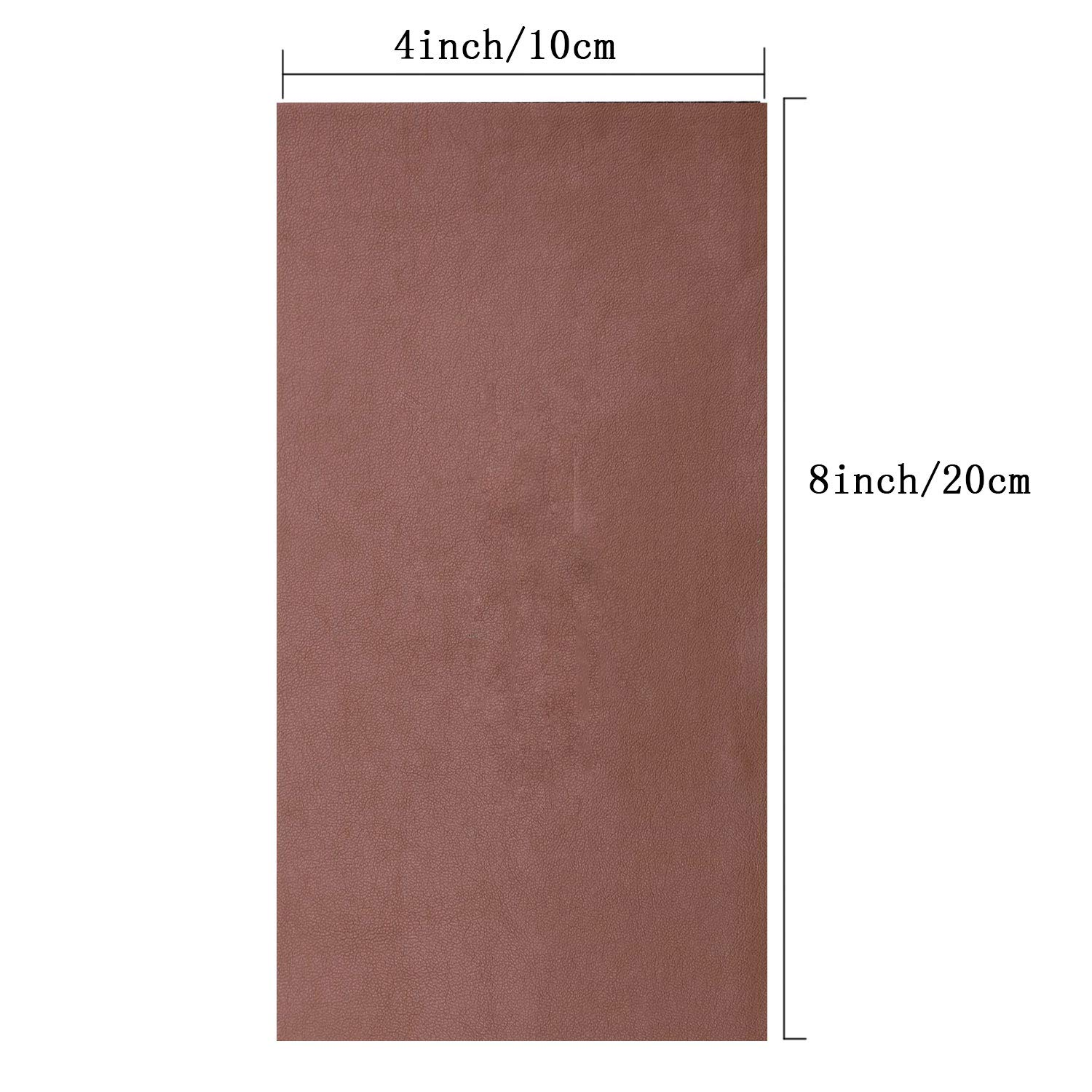12 Pieces Leather Repair Patch Adhesive Backing Leather Seat Patch First Aid for Couch Furniture Sofas Car Seats Handbags Jackets,4x8 Inches Dark Brown
