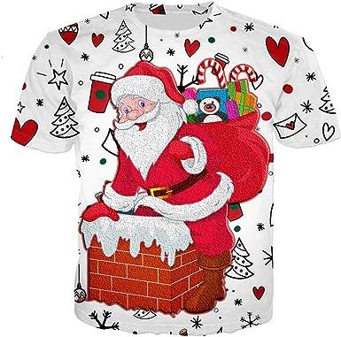 K-Youth Camiseta Hombre Navidad Invierno Casual T-Shirt Top Camisetas Manga Corta Hombre Deporte Ropa Adolescentes Chico Camisas Hombres Talla Grande Chandal Hombre Navideños Blusa: Amazon.es: Ropa y accesorios