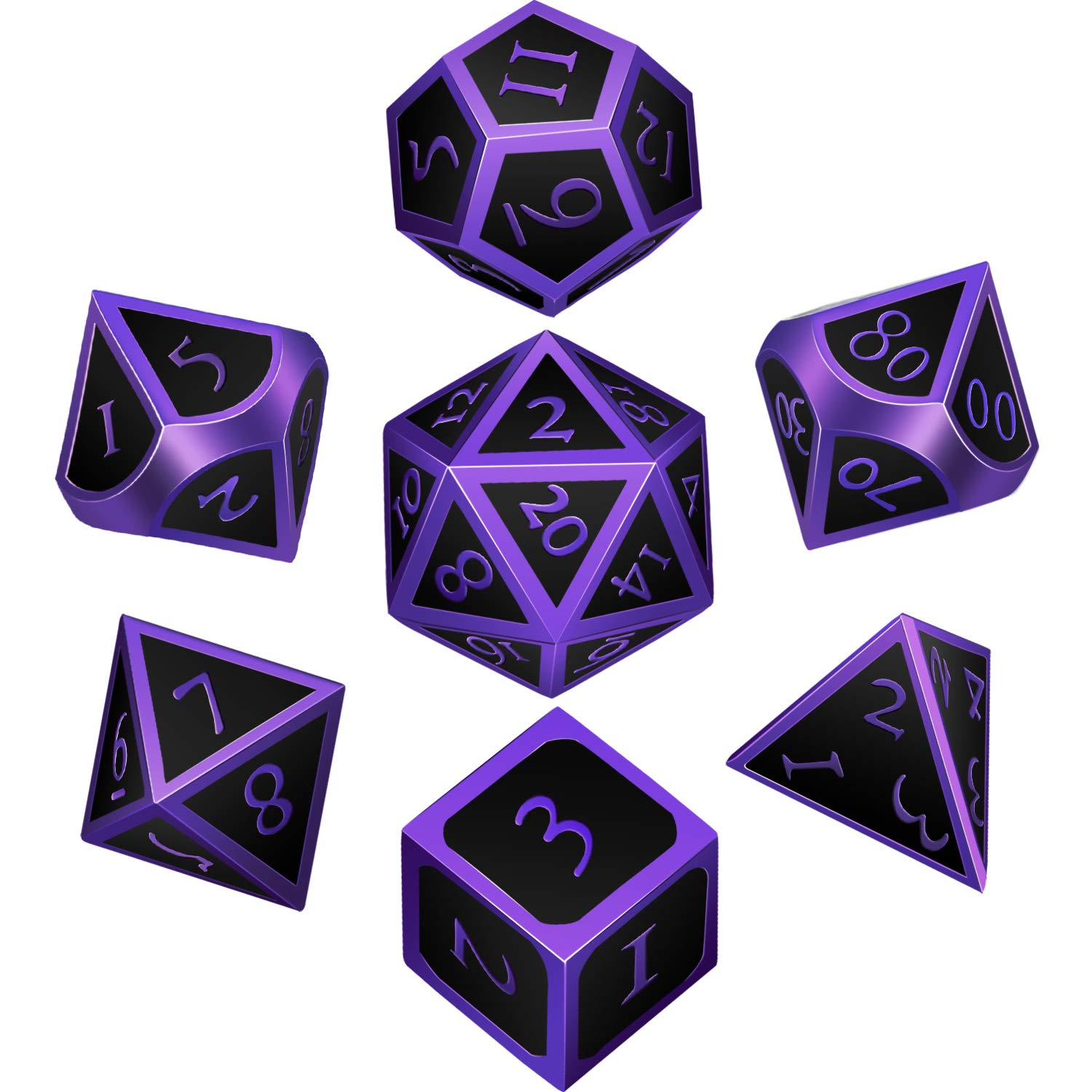 7 Pieces Metal Dices Set DND Game Polyhedral Solid Metal D&D Dice Set with Storage Bag and Zinc Alloy with Enamel for Role Playing Game Dungeons and Dragons, Math Teaching (Purple Edge Black) by Unknown