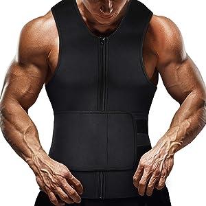 Lechiry Men Neoprene Waist Trainer Sweat Sauna Vest Double Compression Adjustable Trimmer Belt Body Shaper with Zipper