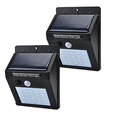 2Pack Superbright 20LEDs Lampe Solaire Motion Sensor Light, HUIJIN Waterproof Security Outdoor Solar Lamp, intelligents Lampe murale pour jardin, clôture, patio, jardin, pont, mur extérieur