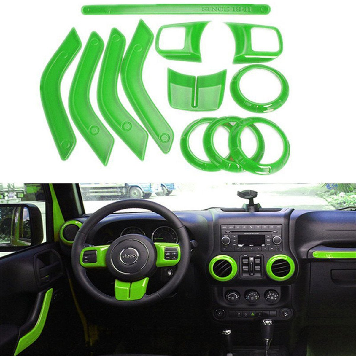 FMtoppeak 12 Pcs/Kits Green ABS Auto Interior Parts Decoration Car Inner Dashboard Trim Cover for Jeep Wrangler 4 Door 2011-2016 766111850216