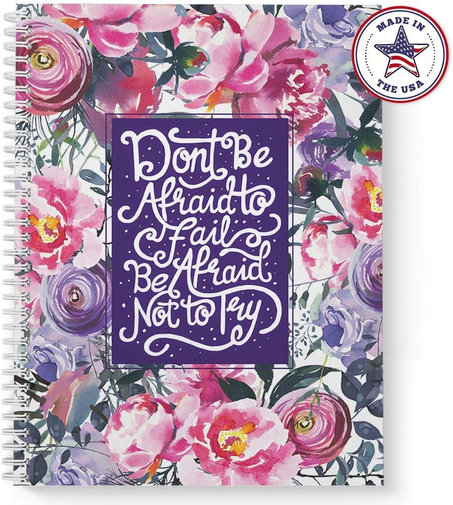 Made in the USA White Wire-o Spiral 120 College Ruled Pages Durable Gloss Laminated Cover Softcover Afraid Not To Try 8.5 x 11 Motivational Spiral Notebook//Journal