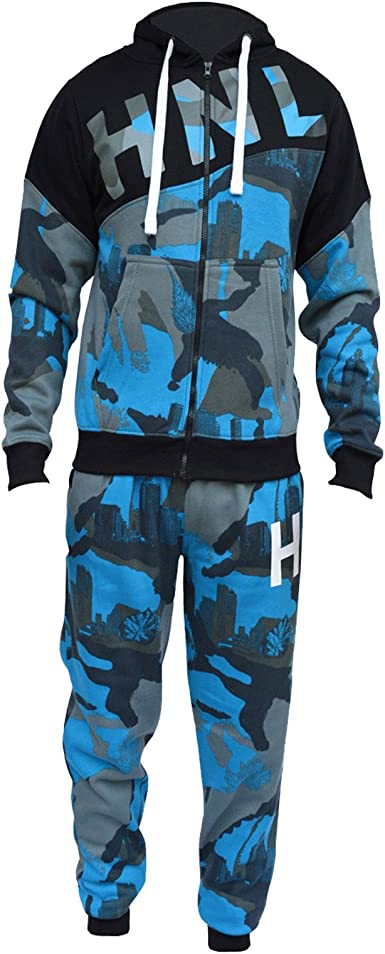 Kids Boys Tracksuit HNL Royal Camouflage Hoodie Bottom Jogger Jogging Suit 7-13Y
