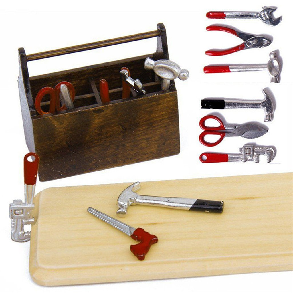 1/12 Dollhouse Miniature Metal DIY Tool Set Kit Toy Wooden Box SGerste