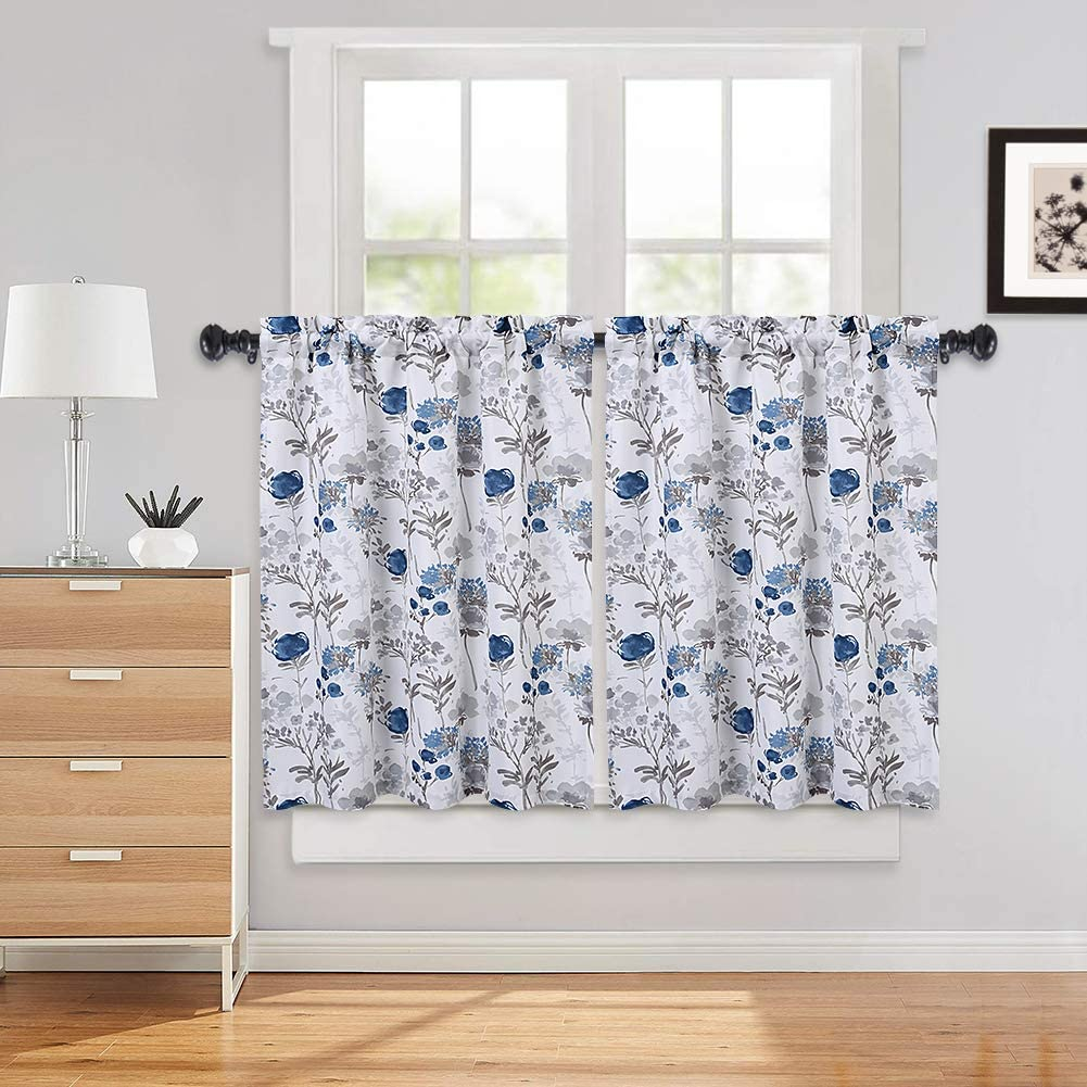 Amazon Com Haperlare Navy Blue Cafe Curtains 36 Inches Length Watercolor Flowers Rod Pocket Short Tier For Kitchen Leaf Floral Bathroom Window Grey Home