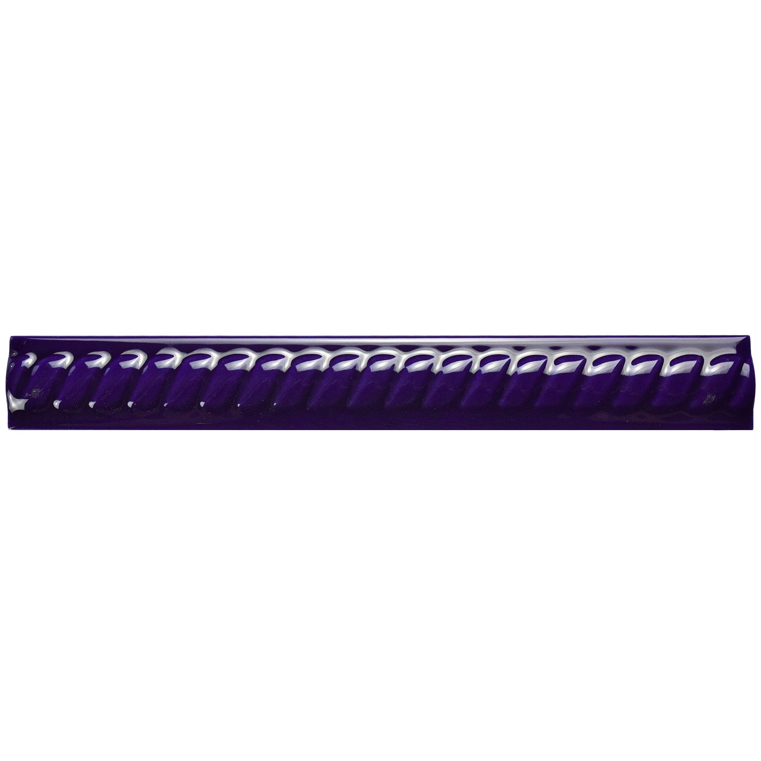 SomerTile WAT8TCM Trenzo Ceramic Moldura Pencil Trim Tile, 1'' x 7.88'', Cobalto