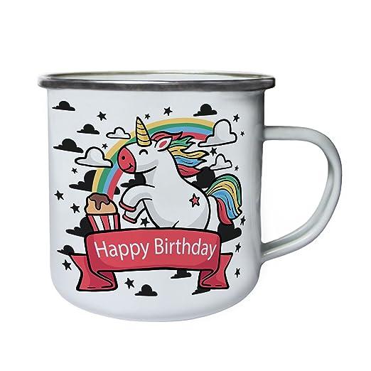 Unicornio Feliz Cumpleaños Retro, lata, taza del esmalte ...