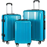 COOLIFE Luggage Expandable Suitcase PC+ABS 3 Piece Set with TSA Lock Spinner Carry on 20in24in28in (Turquoise Blue, 3 piece s