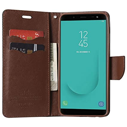 official photos f81b3 d6a01 ORC Galaxy A8+ Flip Cover-Luxury Mercury Diary Wallet Style, with Magnetic  Flip Cover for Samsung Galaxy A8+ (Plus) (Black:Brown)