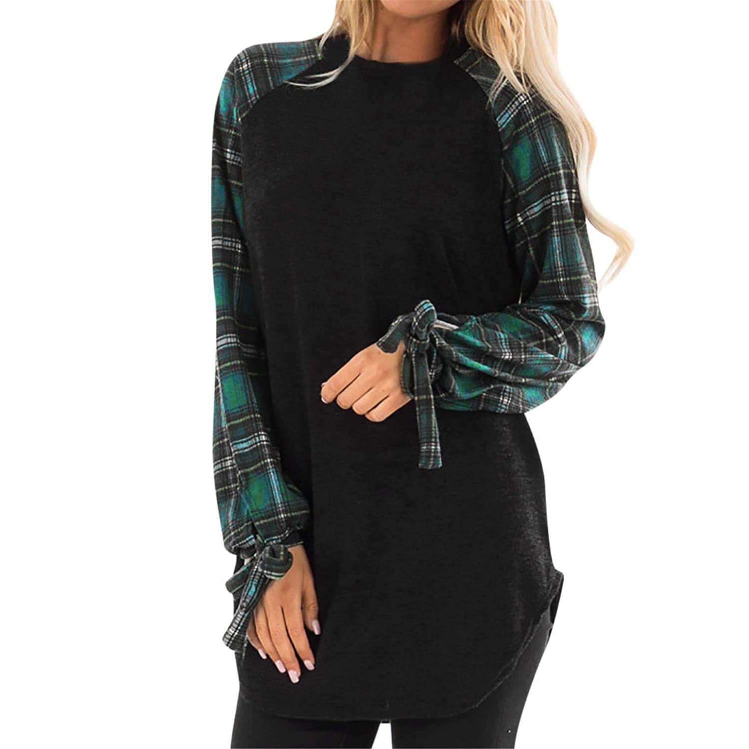 TIFENNY Loose Tops for Women Casual Plaid Long Sleeve Bow Pullover Blouse Shirts Sweatshirt