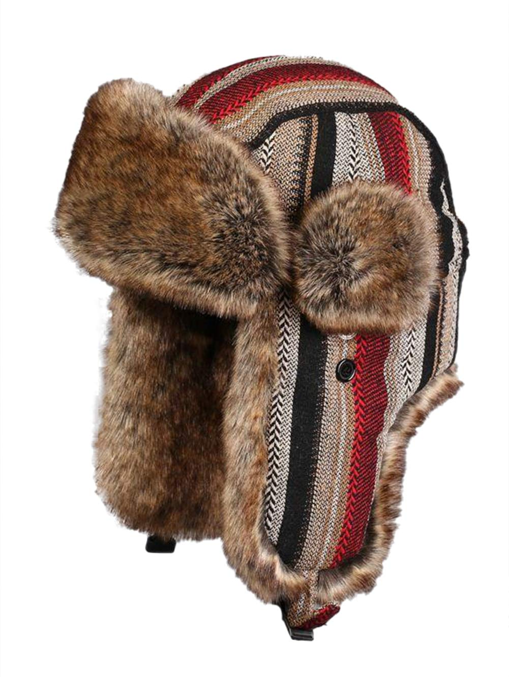 ONCEFIRST Unisex Winter Ski Aviator Hats Pilot Hunting Trapper Caps Stripe Red Khaki S