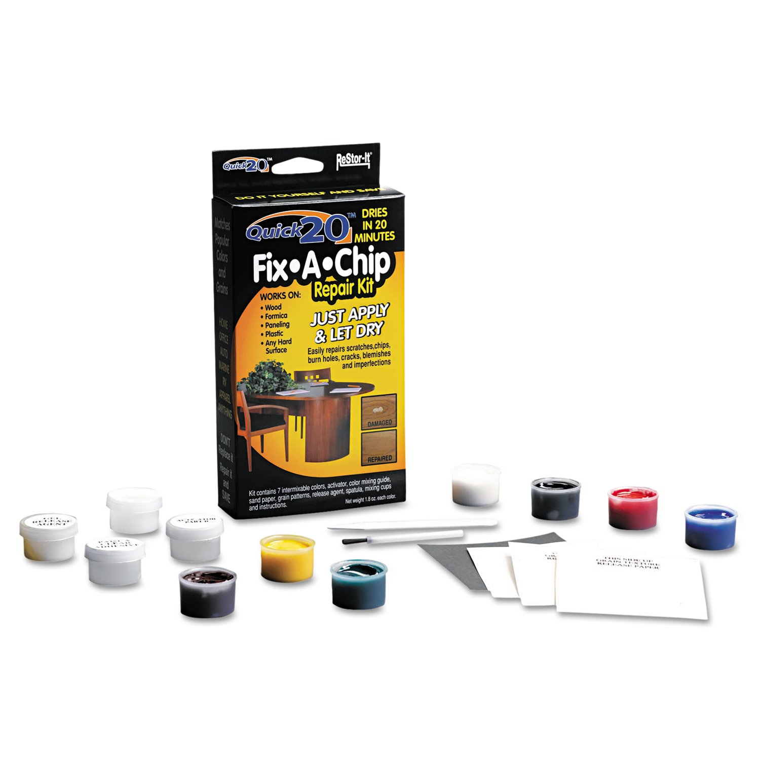 furniture repair kit. amazon.com: restor-it quick20 fix-a-chip repair kit, 7 intermixable colors, mixing cup, applicator, color guide (18084): home \u0026 kitchen furniture kit i