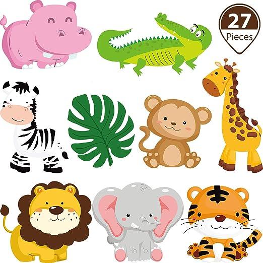 Decoracion De Baby Shower De Animales.27 Piezas Decoraciones De Fiesta De Tema De Selva Recortes