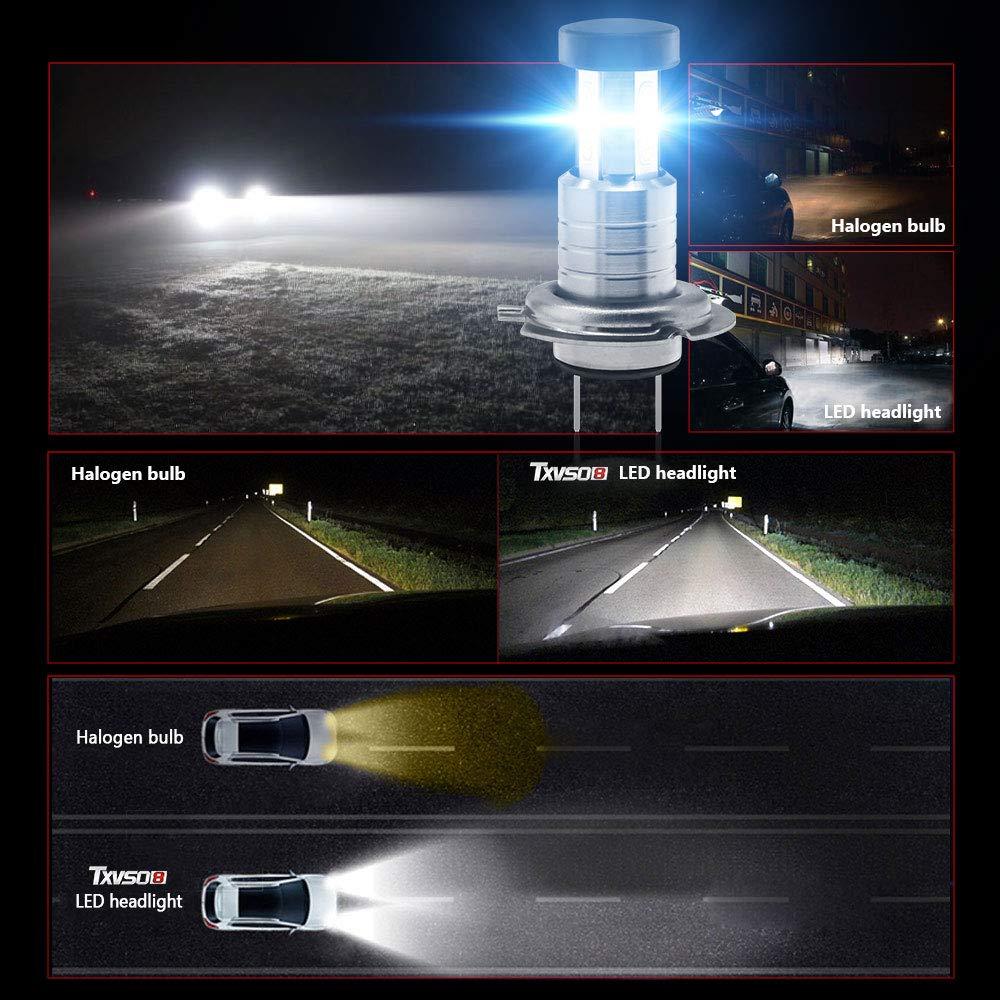 2pcs//Set Reemplazo para luces hal/ógenas y de xen/ón o luces bajas 55W//Bombilla con canbus//decodificador TXVSO 110W 26000LM H7 Kit de faros LED para autom/óvil 3 lados 6000K L/ámparas blancas