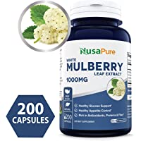 Best White Mulberry Leaf Extract 1000mg 200 Capsules (No Fillers, Non-GMO & Gluten Free) Natural High & Low Blood Sugar Control, Weight Loss Support - 100% Money Back Guarantee!