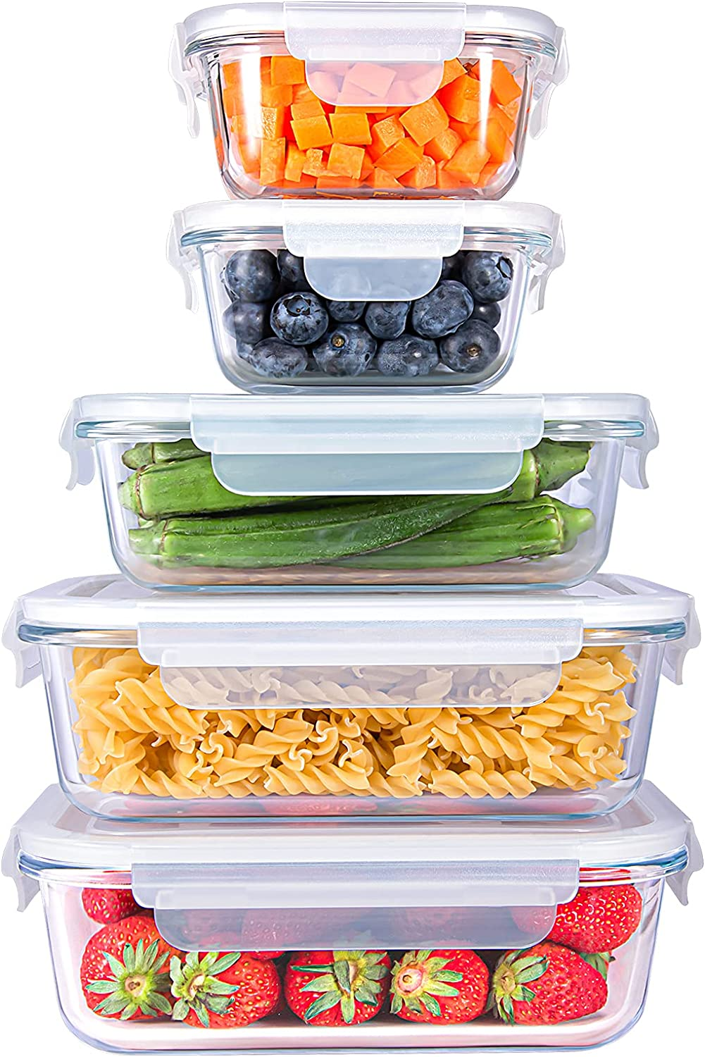 SHOMOTE Glass Food Storage Containers Set with Lids Airtight, BPA-Free Sealable Stackable Clear Portion Control Bowls, Kitchen Stuff Lunch Meal Prep, Freezer Microwave Dishwasher Safe, Gift 5 Pack