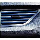 (Muu3) エアコン ルーバー モール 車 はめ込み式 カバー 吹き出し口 内装 ドレスアップ カスタム パーツ 10本 セット (ブルー)