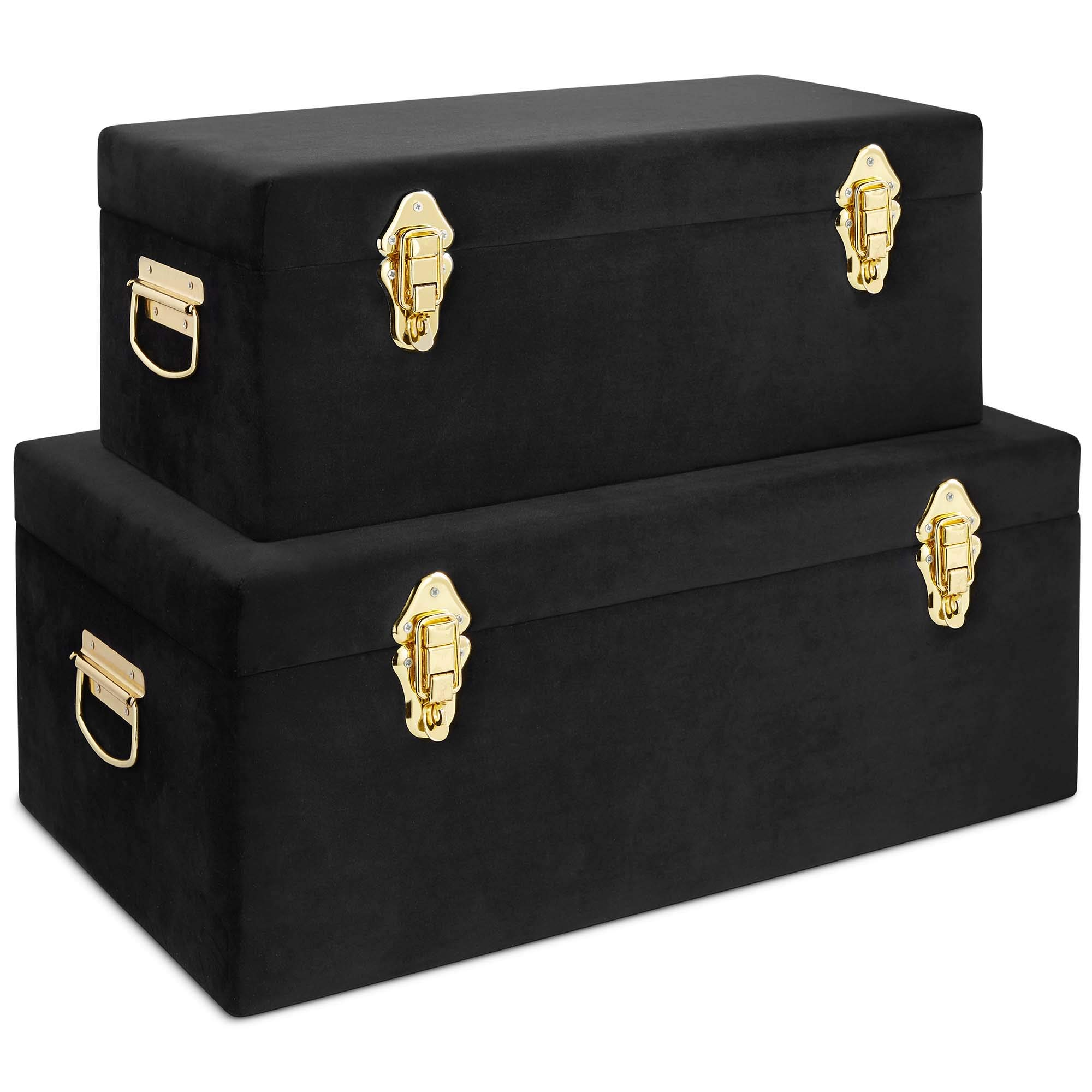 Beautify Black Velvet Decorative Storage Trunk Set with Brass Clasps - College Dorm and Bedroom Footlocker Trunks by Beautify