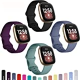 Dirrelo Bands Compatible for Fitbit Sense/Versa 3, (4-Pack) Replacement TPU Sport Wristbands Accessories Strap for Versa 3 Se