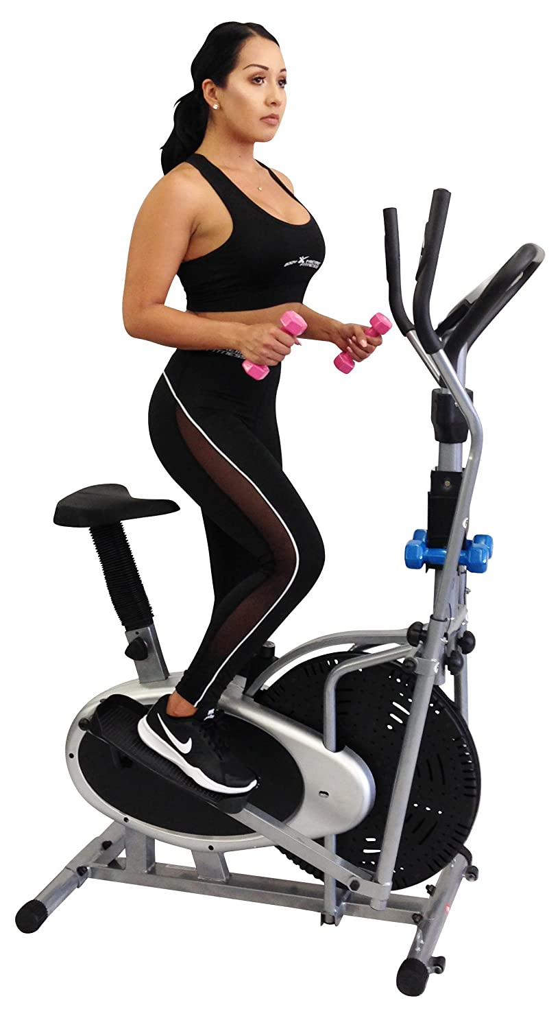 Amazon.com : Body Xtreme Fitness Elliptical 4-in-1 Trainer Exercise Bike BXF001A, Home Gym Equipment, Compact Design, Hand weights, Resistance Bands + BONUS ...