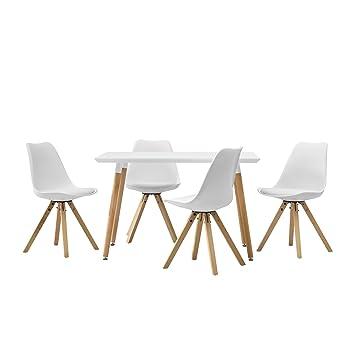 Encasa Esstisch Mit 4 Stühlen Weiß Gepolstert 120x70cm Kunstleder