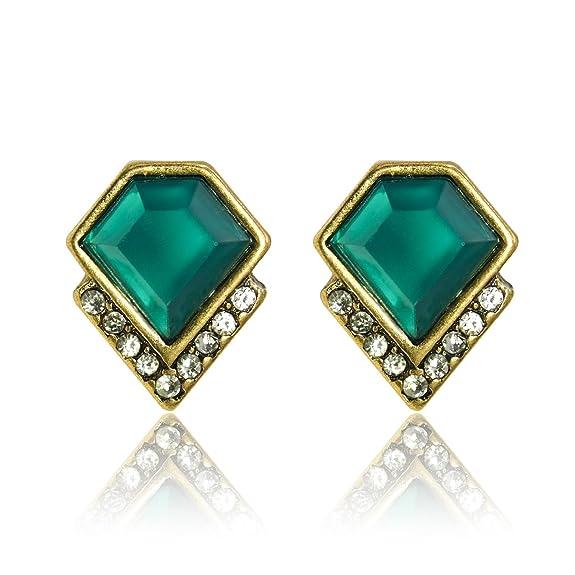 5 opinioni per LARESDOMI Vintage Gold-tone cristallo Incrusted simulato Smeraldo Inlay