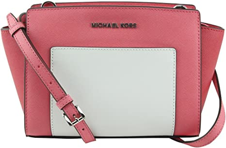 16f413e43e0b Image Unavailable. Image not available for. Colour: MICHAEL Michael Kors  Selma Medium Messenger Coral/Watermelon/White