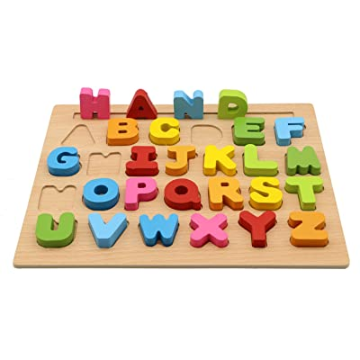 Motrent 26 Letters Wooden Uppercase Alphabet Puzzle Learning Jigsaw Board Toy for Kids Toddlers 1 2 3 Year Olds Boy and Girl Gifts: Toys & Games
