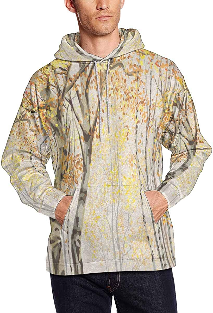 INTERESTPRINT Mens Autumn Birches Hooded Sweatshirt