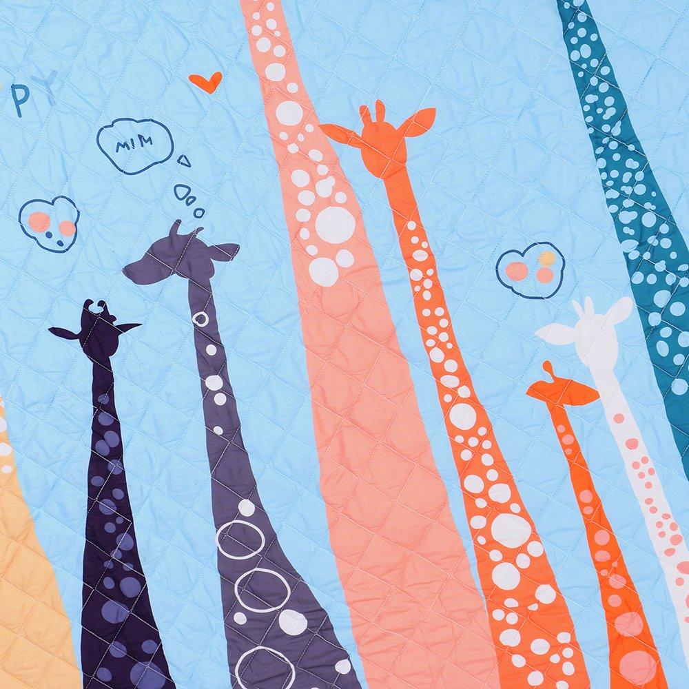 Round Kids Rug,Toys Storage Organizer,Nursery Rugs Large Cotton Anti-slip Cartoon Animal Baby Floor Mat Game Mat Area with Drawstring for Kids Room Living Room, 59x59 Inch (Giraffe)