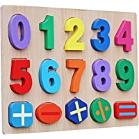 GoodLuck Baybee Educational Colorful Wooden 0-9 Number Puzzle Board + 5 Maths Toys Puzzles for Boys & Girls Toddlers and Kids for Age 3 Years Above