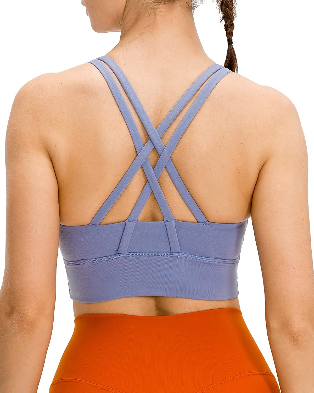 Details about  /Strappy Sports Bras for Women Padded Medium Impact Racerback Longline Sports Bra