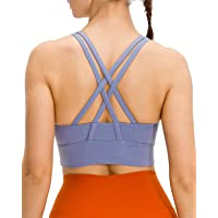 Lavento Women's Strappy Sports Bra Medium Support Workout Training Top