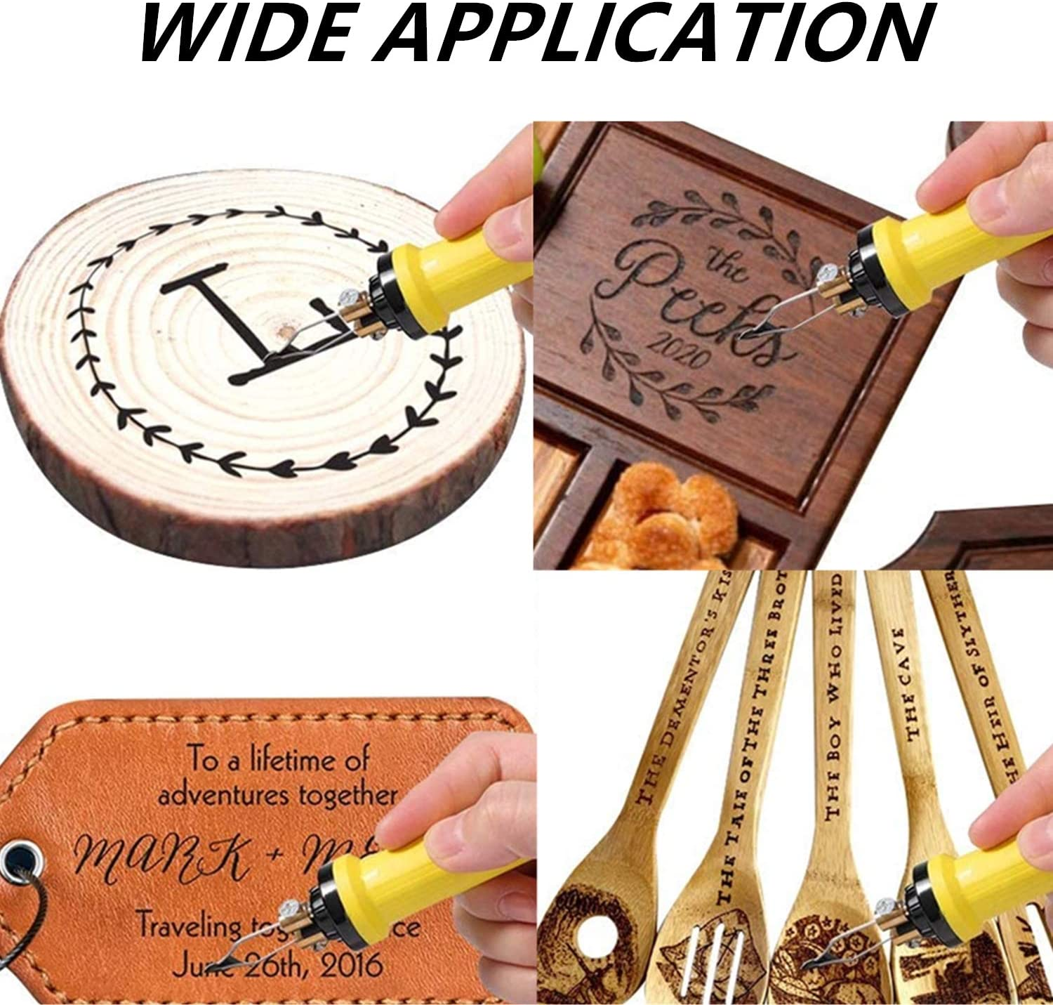 60W Pyography Wood Burning Tool Kit Used As Wood Carving Engraver for Wood Leather and Gourd with 2 Wood Burning Stencil Pen and 20pcs Pyrography Wire Tips YaeCCC Wood Burning Kit