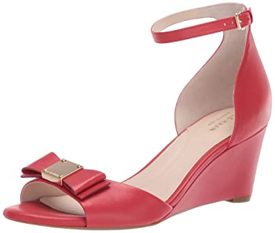 6eb40e6a6c Cole Haan Women's TALI Grand Bow Wedge Sandal, Barbados Cherry Leather 5 ...