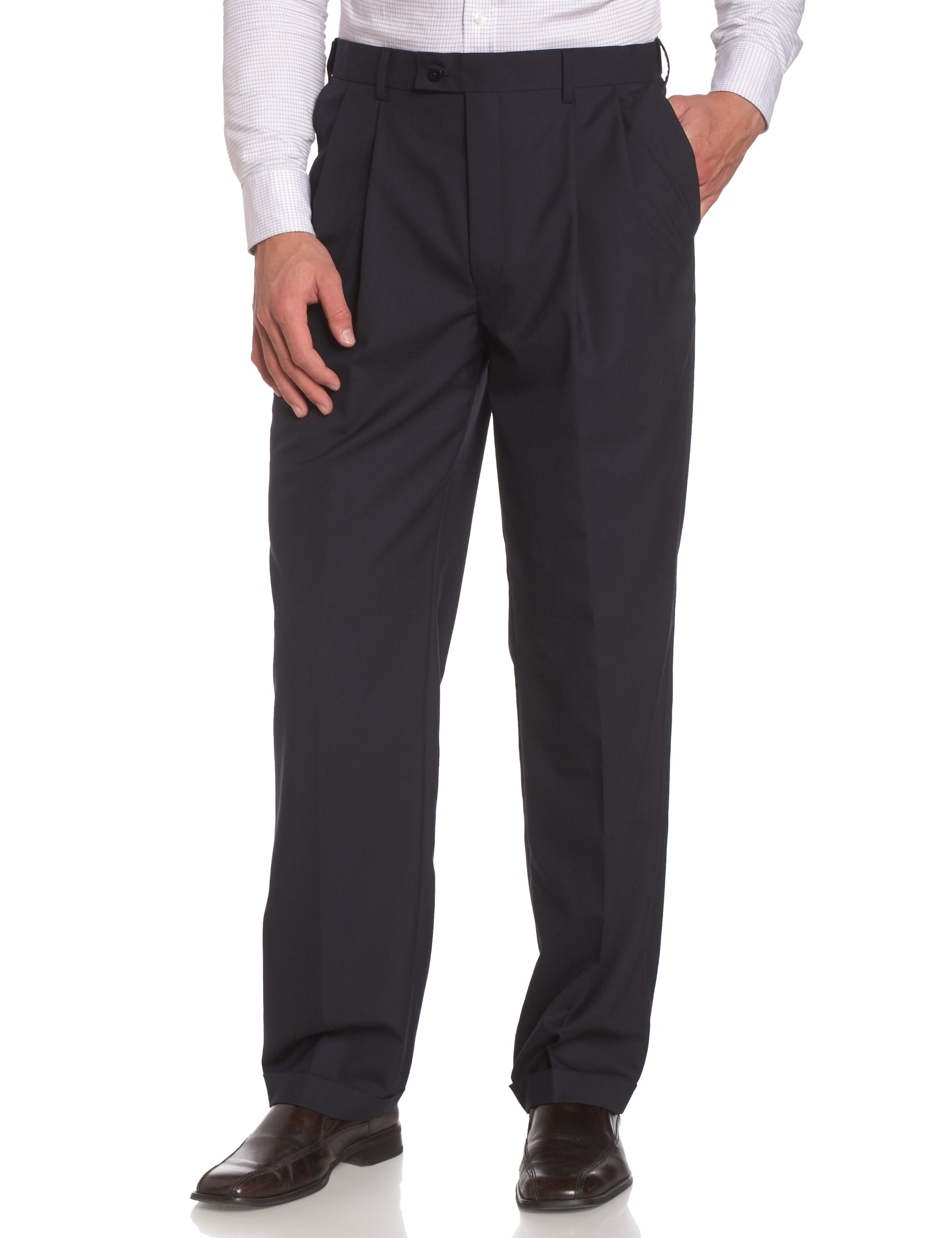 Louis Raphael LUXE Men's 100% Wool Pleated Dress Pant with Hidden Extension Waist Band,Navy,32x30
