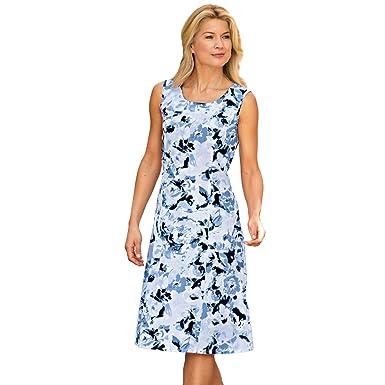 a23693a1c0 Blair Women s Plus Size Print Tank Dress - 18W Blue at Amazon ...
