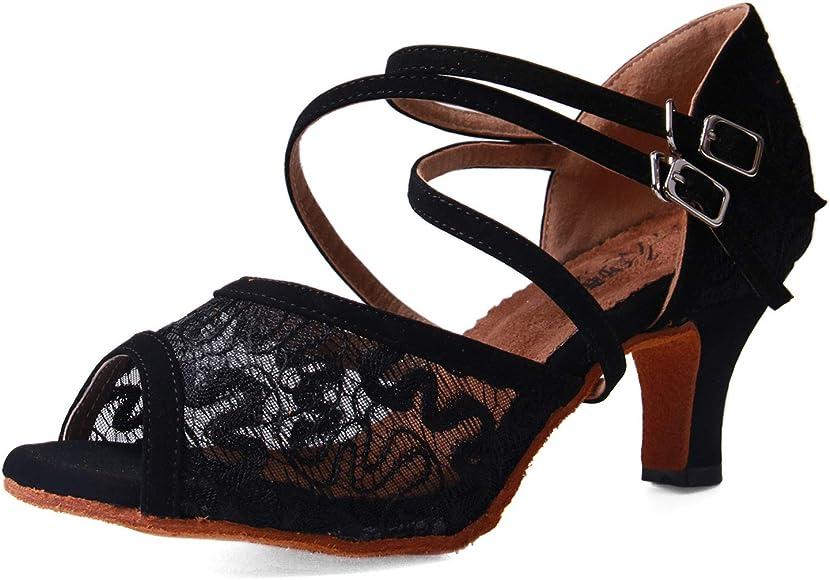 Syrads Zapatos de Baile Latino para Mujer Salsa Zapatos de Tango Samba Vals Bachata Kizomba Baile de Salón de Interior Negro 6cm: Amazon.es: Zapatos y complementos