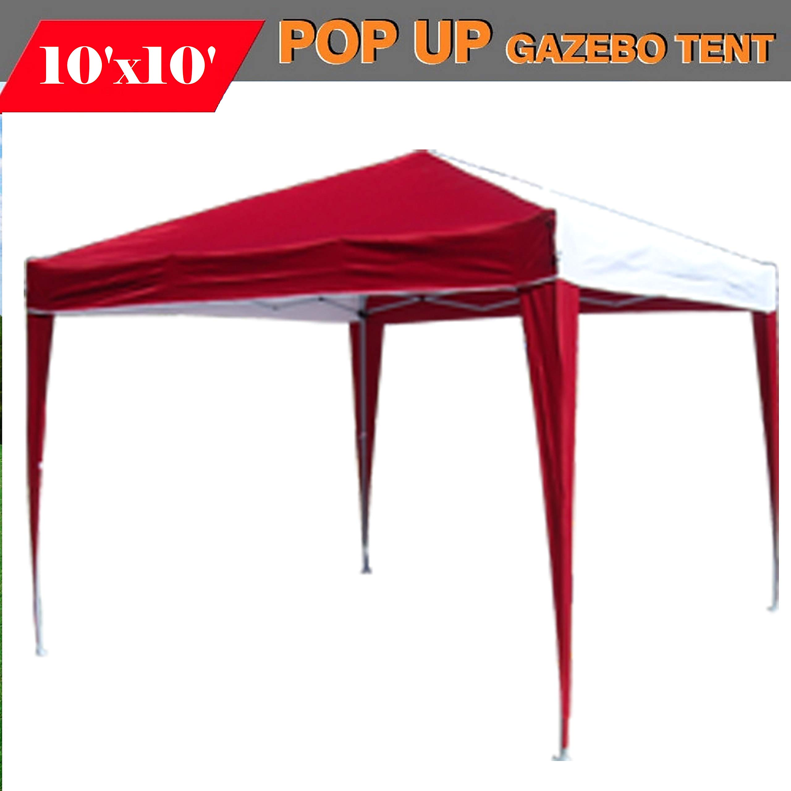 DELTA Canopies 10'x10' Pop up Canopy Party Tent Instant Gazebo Ez CS N - Red/white