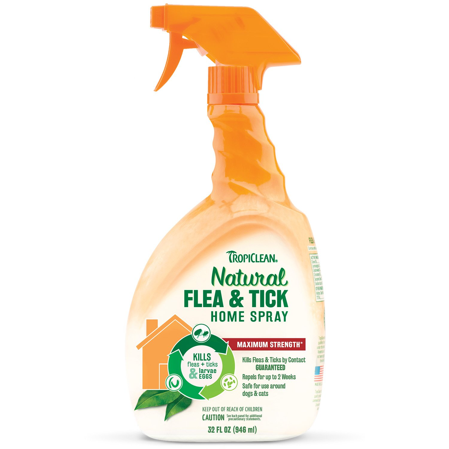Tropiclean Natural Flea and Tick Spray For Home, Safe To Use Around Dogs and Cats, Effectively Kills And Repels Fleas and Ticks, Non-Staining, 32 oz.