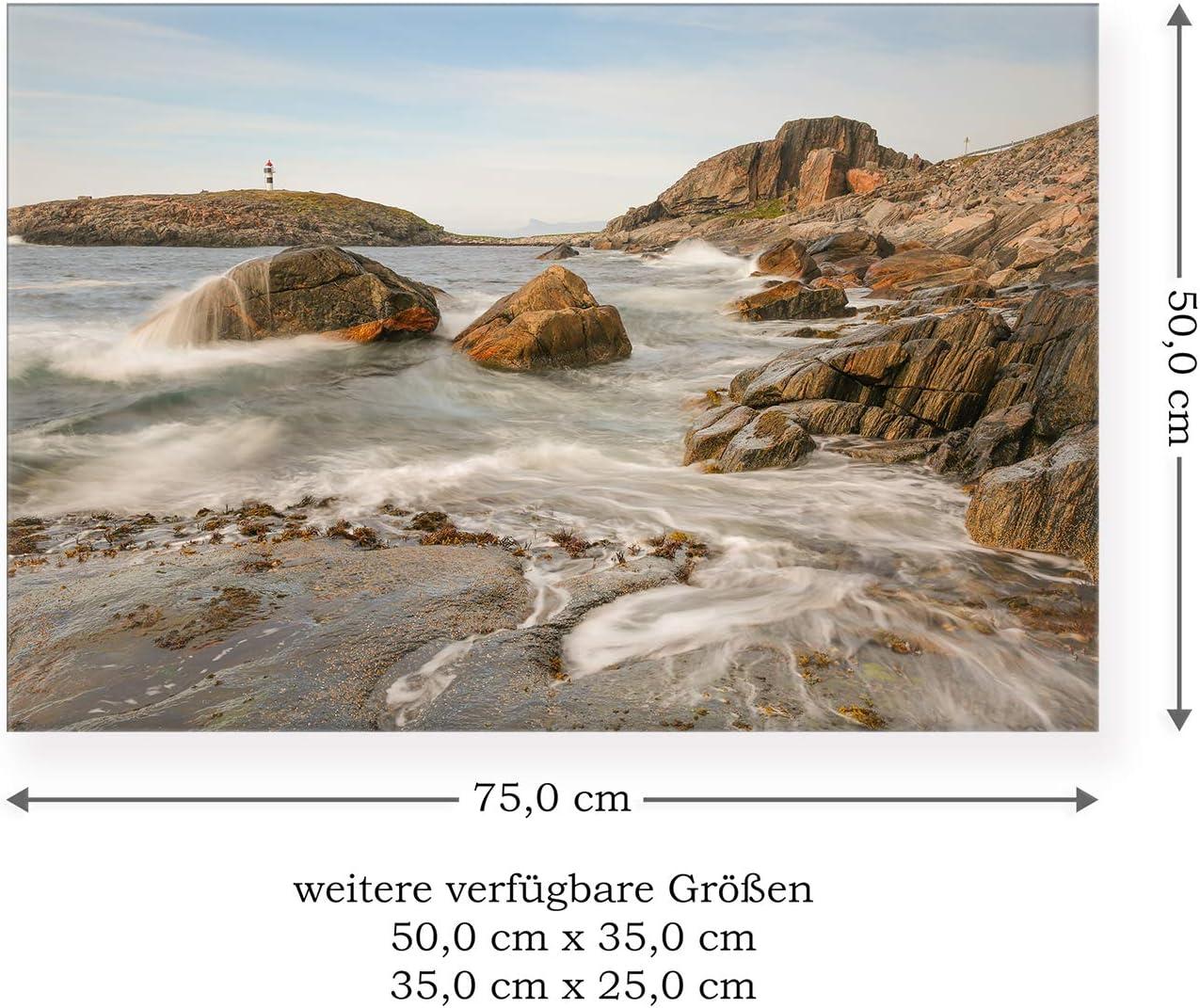 Norwegen Premium Leinwand Postereck Skandinavien 01 Gr/ö/ße 35,0 cm x 25,0 cm 0577 K/üste der Insel Andoya