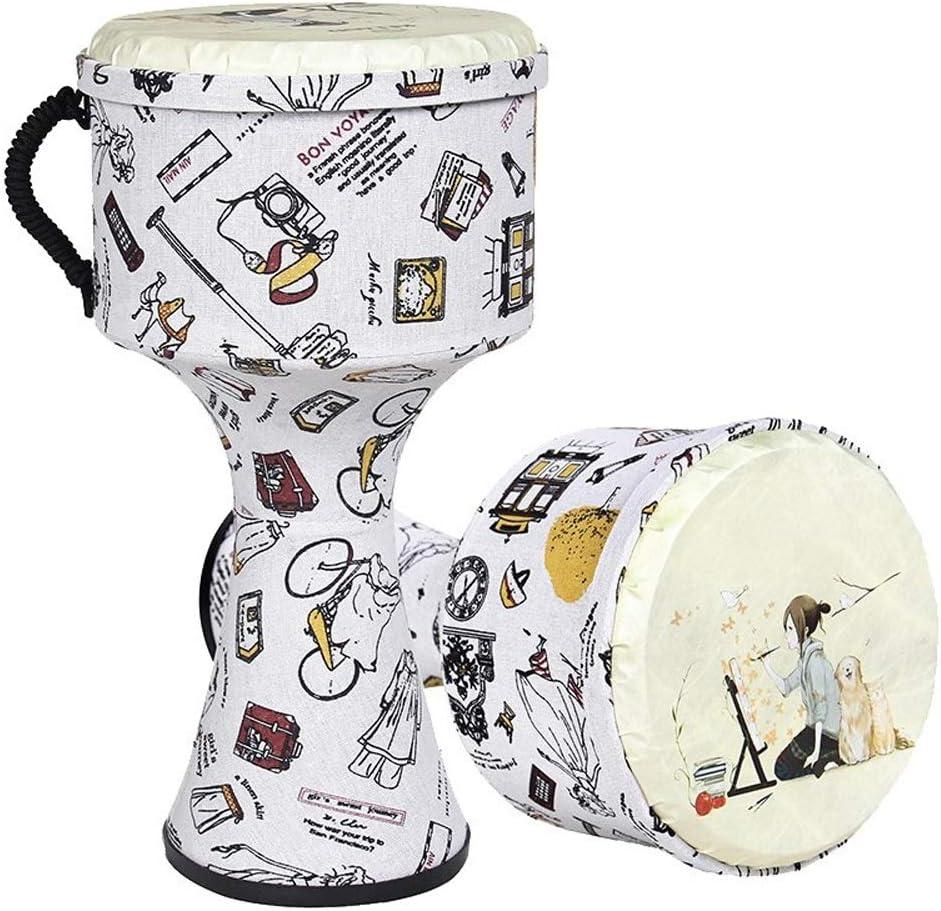 ジャンベ 8.5インチの軽量ジャンベはアフリカの太鼓を演奏するポータブルチューニング無料タンバリン子供ビギナー大人のABS 楽器子供用ドラム初心者初心者向け (Color : White, Size : 8.5 Inch)