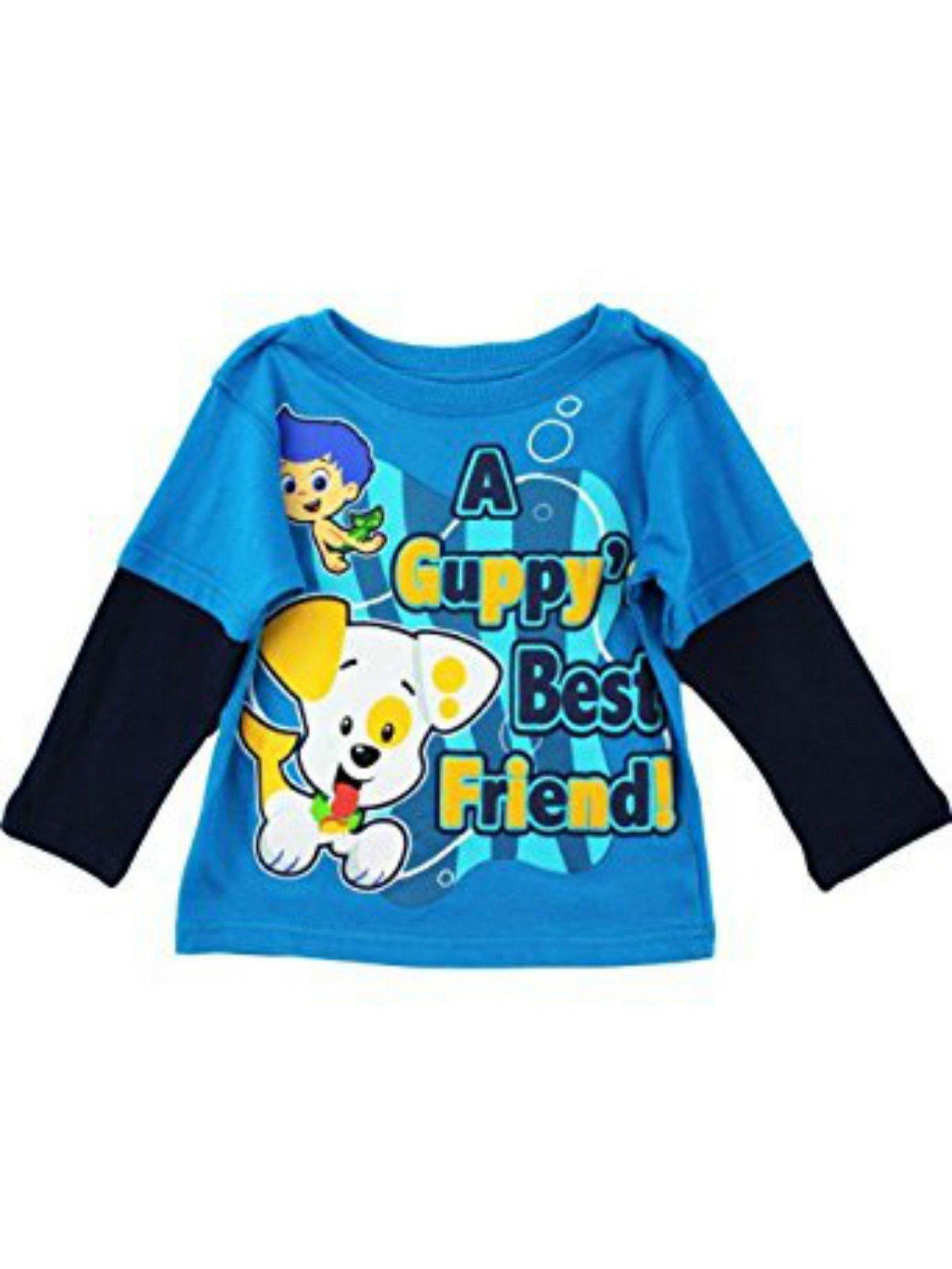 Bubble Guppies Little Boys Blue Cartoon Print Twofer Long Sleeve Top 3T