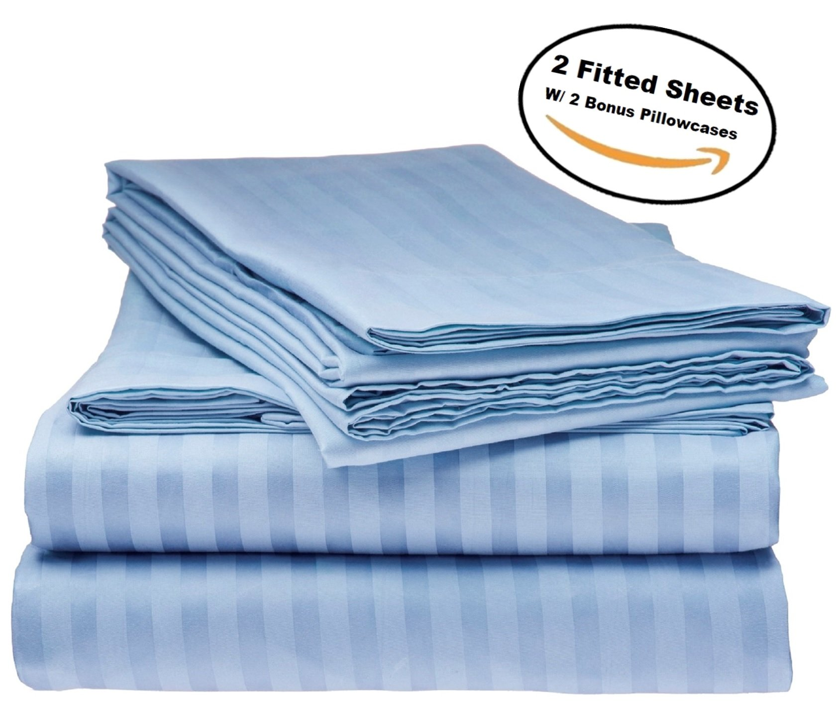 Deluxe 2Pk Fitted Bed Sheets - Bottom Sheet, Soft 1800 Bedding, Highest Quality Brushed Microfiber, Hypoallergenic, Wrinkle, Fade, Stain Resistant - Bonus 2 Free pillowcases - (King Size Light Blue)