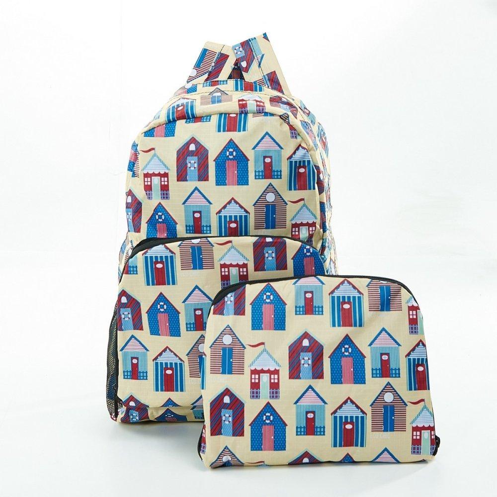 Faye UK Ltd. Eco-Chic Foldable Expandable Backpack Beige Beach Hut Foldable Backpack